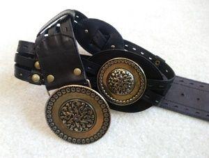 Leather strap belt and big Brass buckle medallion